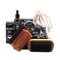 vokarala Bartstyling-Set, 7 Teiliges Bartpflege Set Bestehend aus Bartbalsam, Bartwachs, Bartöl, Bartkamm, Bartbürste und Barttasche, Ideal Geschenkset für Männer