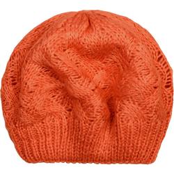 styleBREAKER Baskenmütze Strick Baskenmütze mit Zopfstrick Muster Strick Baskenmütze mit Zopfstrick Muster orange
