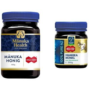 Manuka Health - Manuka Honig MGO 400+ 500g - 100% Pur aus Neuseeland mit zertifiziertem Methylglyoxal Gehalt & Honig MGO 550+ (250g), 109US