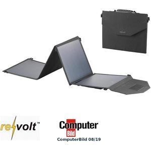 reVolt Solarmodule: Mobiles, faltbares Solarpanel, 4 monokristalline Solarzellen, 50 Watt (Solarpaneele)