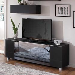 TV Lowboard in Schwarz infrarotdurchlässigem Spiegelglas versehen