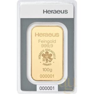 100 Gramm Goldbarren Heraeus