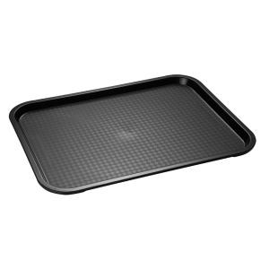 APS Fast Food-Tablett, Rechteckiges Essenstablett mit abgerundeten Ecken, Maße (B x L x H): 41 x 30,5 x 2,5 cm, schwarz