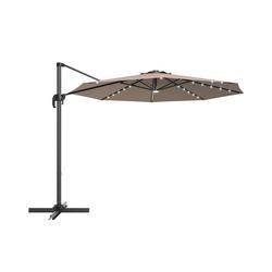 COSTWAY Ampelschirm LED Sonnenschirm, Gartenschirm, Kurbelschirm, Ø300 cm, mit Kreuzständer, für Garten, Terrasse, Pool oder Veranda braun