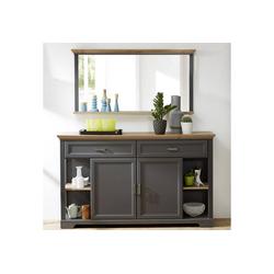 Lomadox Garderoben-Set JÜLICH-36, (Spar-Set, 2-tlg), Sideboard und Spiegel Set in Graphit und Artisan Eiche Nb. B/H/T ca. 171/190/48cm