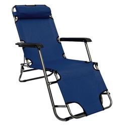 AMANKA Gartenstuhl Campingstuhl Liegestuhl Freizeitliege Sonnenliege, Klappliege Liege 153 cm blau