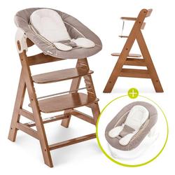 Hauck Hochstuhl Alpha Plus Walnut - Newborn Set Holz Hochstuhl ab Geburt + Neugeboreneneinsatz & Wippe Deluxe + Sitzpolster