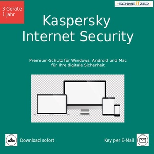 Kaspersky Internet Security 3 Geräte PC/Mac/Android 1 Jahr Download
