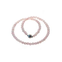 Bella Carina Perlenkette Rosenquarz 8 mm, Rosenquarz 8 mm Perlen rot 50 cm