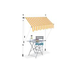 relaxdays Klemmmarkise Klemmmarkise gelb weiß 150 cm x 120 cm x 300 cm