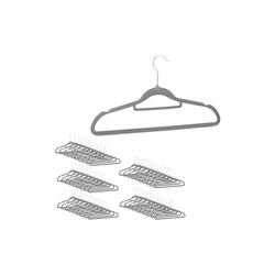 relaxdays Kleiderbügel Samt Kleiderbügel Set grau