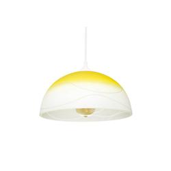 Licht-Erlebnisse Pendelleuchte ADANIA Hängeleuchte Esstisch Gelb Glas rund retro E27 Küche Lampe