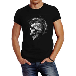 Neverless Print-Shirt Herren T-Shirt Punk Mohawk Skull Totenkopf Irokese Shirt Slim Fit Neverless® mit Print L
