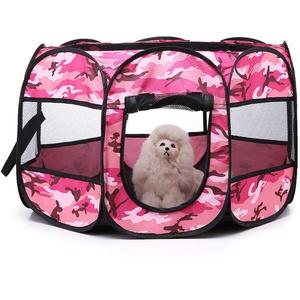 KEESIN Faltbares Haustier Zelt 8-Panel Mesh Haus WelpenLaufstall Hundehütte für Hunde Katze Kaninchen (73 * 73 * 43cm, Tarnung Rosa)