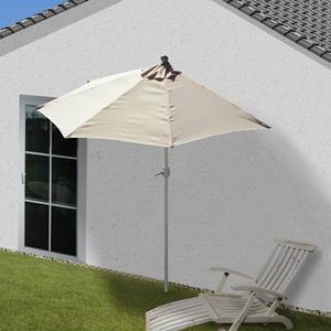 Alu-Sonnenschirm halbrund Lorca, UV 50+ creme 300cm ohne Ständer, Halbschirm