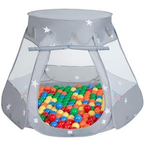 SELONIS Baby Spielzelt Mit Plastikbällen Zelt 105X90cm/600 Bälle Plastikkugel Kinder, Grau:Gelb-Grün-Blau-Rot-Orange