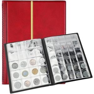 SAVITA 250 Taschen Münzalbum 10 Seiten Ledermünzen Sammelbuch Penny Sammelbuch für Münzsammler (Rot)