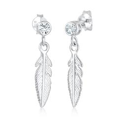 Elli Paar Ohrhänger Ohrhänger Feder mit Kristalle Silber weiß