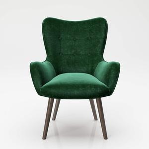 PLAYBOY Sessel mit Massivholzfüssen, Samt in Grün/Petrol, Bestickung und Keder, Samtbezug, Retro-Design für Wohnzimmer, Schlafzimmer, Lounge oder Lesebereich, Ohrensessel