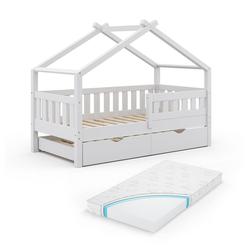 VitaliSpa® Kinderbett Design 160x80 Babybett Hausbett Gästebett Matratze weiß