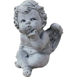 Stone and Style Engelfigur Steinfigur Engelchen mit Kussmund frostfest massiv
