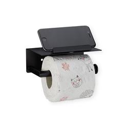 relaxdays Toilettenpapierhalter Toilettenpapierhalter mit Ablage schwarz