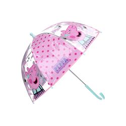 Peppa Pig Stockregenschirm Peppa Wutz Kinder Regenschirm Stockschirm, 72 cm, rosa-transparent