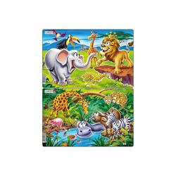 Larsen Puzzle 2er-Set Rahmen-Puzzle, 14 Teile, 28x18 cm, Safari, Puzzleteile