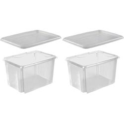 keeeper Stapelbox emil (Set, 2 Stück), mit Deckel, 44,5 x 34,5 x 27 cm, 30 Liter, 2er Set weiß