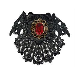 Vintage Goth Halsband Jabot klein Halsschmuck rot