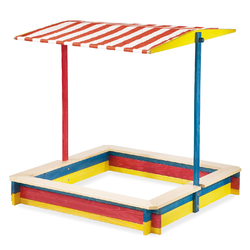 Pinolino Sandkasten Lukas (mit Dach 120 x 120 cm, Fichte bunt lasiert)