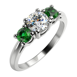 Verlobungsring mit Diamanten und Smaragden Taz