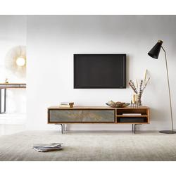 DELIFE TV-Board Juwelo, 160x35x40 Akazie Natur Stein 2 Fächer 160 cm x 40 cm x 35 cm