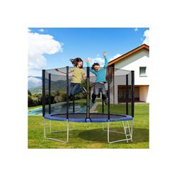 Merax Fitnesstrampolin Outdoor-Trampolin mit Sicherheitszaun und Leiter, 12FT Gartentrampolin mit 150 kg