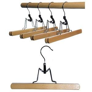 Hagspiel Kleiderbügel aus Holz, Hosenbügel, 8 St. Hosenspanner, mit Filzeinlage, 25 cm lang, Made in EU (8 St. Hosenspanner Buchenholz)