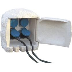 Steckdosen-Stein mit 4 Steckdosen + 5 m Gummikabel