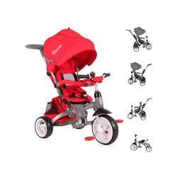 Lorelli Dreirad Tricycle Hot Rock 4 in 1, umbaubar, Schiebestange, Sitz drehbar, verstellbar rot