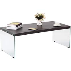 COSTWAY Couchtisch Glastisch, Kaffeetisch, Glastisch für Wohnzimmer/Balkon/Flur