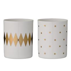 Bloomingville Votive Kerzenhalter, weiß goldfarben, Porzellan, 2er Set