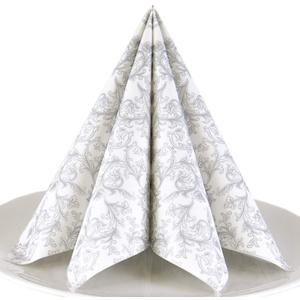 Servietten Ornament silber Premium Airlaid, STOFFÄHNLICH | 125 Stück | 40 x 40cm | Hochzeitsserviette | hochwertige edle Serviette für Hochzeit, Geburtstag, Party, Taufe, Kommunion | made in Germany