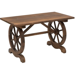 Outsunny Gartentisch Gartentisch im Wagenrad-Design