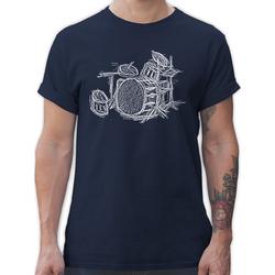 Shirtracer T-Shirt Schlagzeug - Kreidezeichnung - Music - Herren Premium T-Shirt S