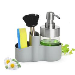 Sendez Organizer Spülbecken Organizer mit Spülmittelspender Bürste Schwamm Küchenorganizer Küchenutensilien Spülgestell