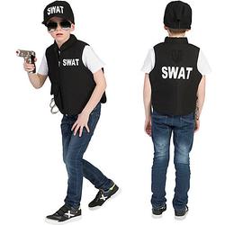 Kostüm SWAT Weste schwarz Gr. 140 Jungen Kinder