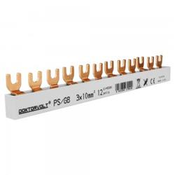 3P Phasenschiene Gabel 12-polig 10mm² PS/G doppelseitig isoliert Schiene Sammelschiene 63A DV 9429