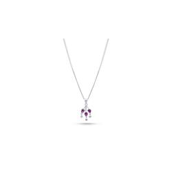 Plume Atelier d'argent Silberkette Halskette mit Lila Kristallsteinen