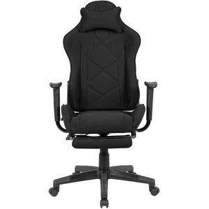 Gaming Stuhl in Schwarz Webstoff verstellbarer Rückenlehne