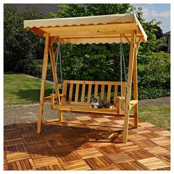 Mucola Hollywoodschaukel Hollywoodschaukel Gartenschaukel Hängeschaukel Schaukelbank Holz Dach Schaukel, 2-Sitzer