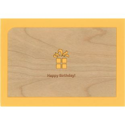 Holzpost Post- & Grußkarten Set 4-tlg. 14x9 cm - Je 1 x Erster, Leben, Danke & Happy Birthday