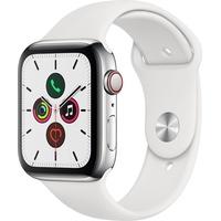 Apple Watch Series 5 GPS + Cellular 44 mm Edelstahlgehäuse, Sportarmband weiß
